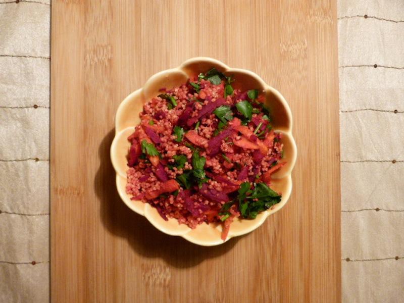 couscous com beterraba e cenoura