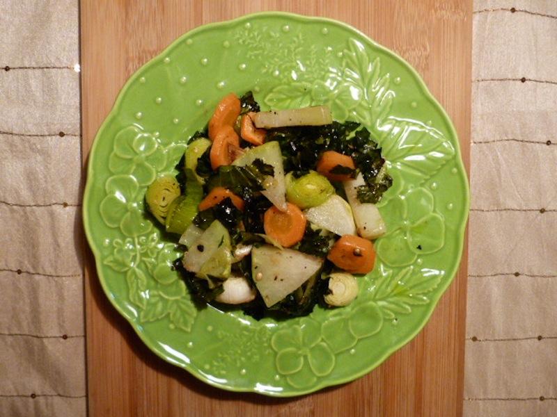 couve-rábano com cenoura