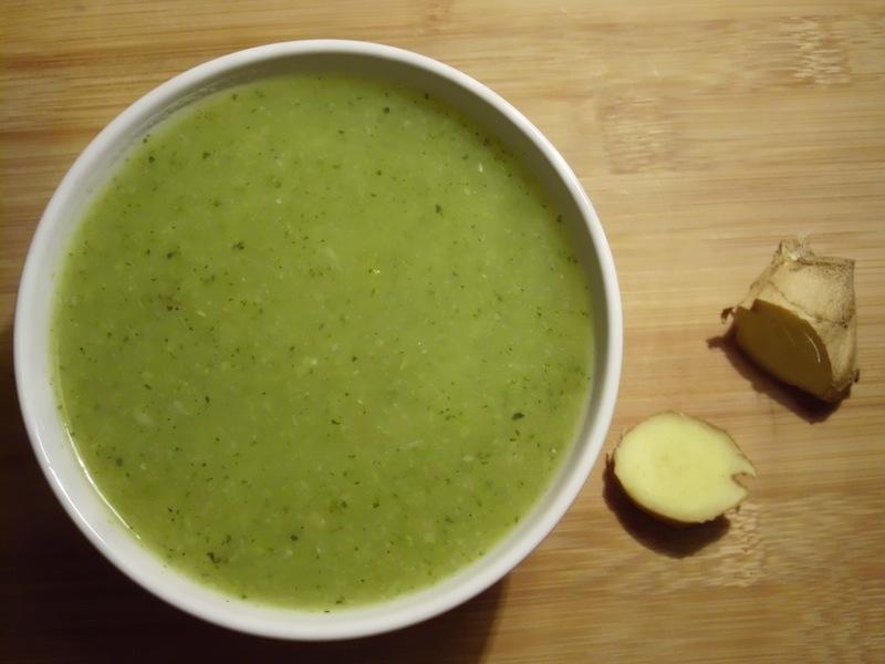 sopa de courgette e gengibre