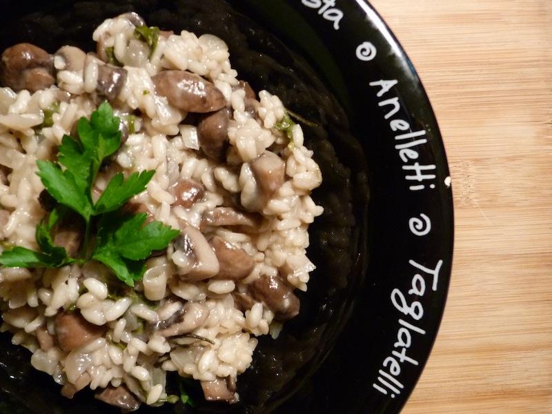 risotto de cogumelos e espinafres