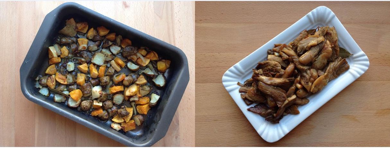 Cogumelos grelhados + Tupinambo com abóbora no forno